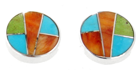 David Rosales Sunrise Inlaid Sterling Silver Earrings