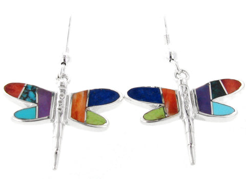 David Rosales Albuquerque Flat Inlaid Sterling Silver Earrings