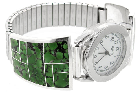 Inlaid Sterling Silver Watch