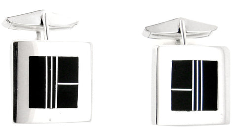David Rosales Black Jade Inlaid Sterling Silver Cuff Links