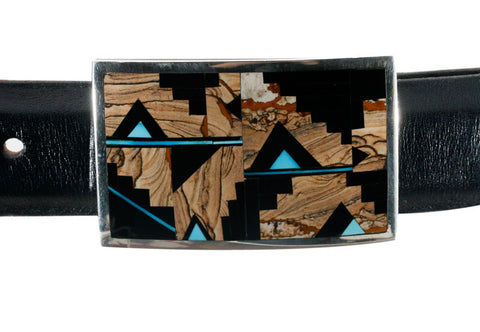 "Supersmith Turquoise Creek & Tiger's Eye 1"" Ranger Buckle"