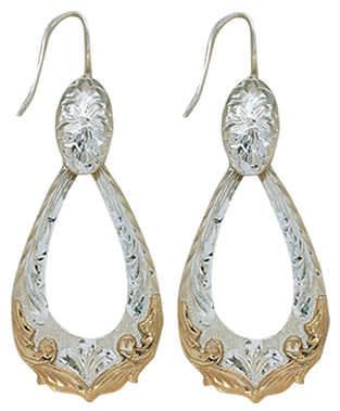 Western Engraved Dangle Accent Earrings