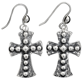 Western Engraved Cross Graduated Bead Earrings