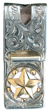 Western Engraved Gold Star Money Clip