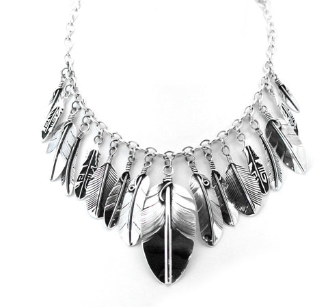 Sterling Silver Feather Necklace by Lena Platero