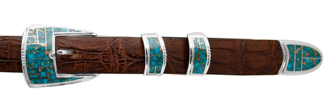 "Supersmith Kingman Turquoise Inlaid 1"" Ranger Belt Buckle"