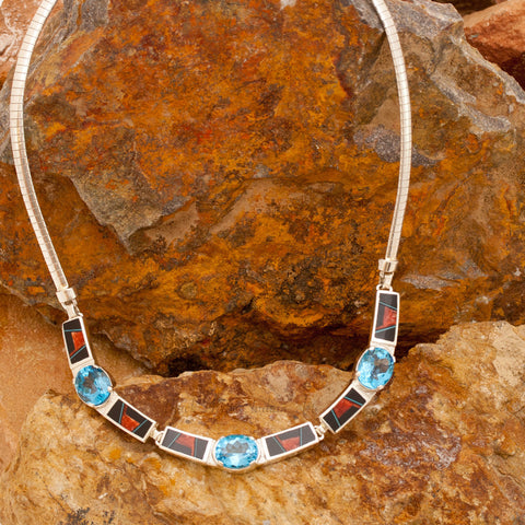 David Rosales Red Canyon Inlaid Sterling Silver Necklace w/ Blue Topaz