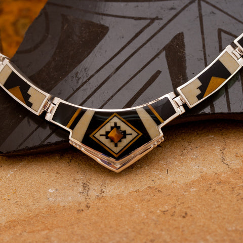 David Rosales Kayenta Inlaid Sterling Silver Necklace