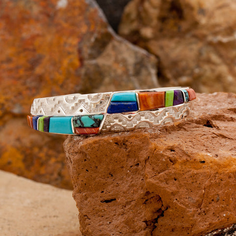 David Rosales Indian Summer Cobble Inlaid Sterling Silver Bracelet
