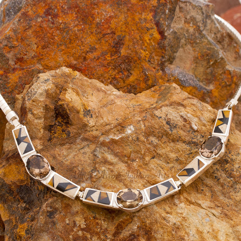 David Rosales Kayenta Inlaid Sterling Silver Necklace w/ Smoky Topaz