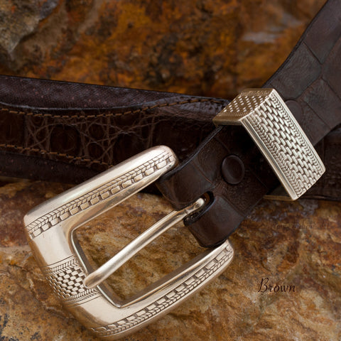Custom Brown Two-tone Shark Belt Strap with Buckle