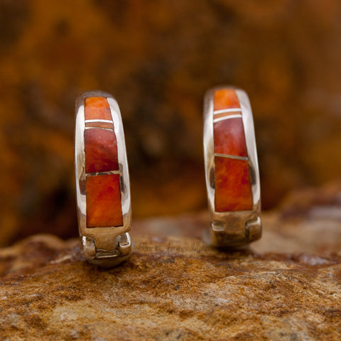David Rosales Desert Fire Inlaid Sterling Silver Earrings