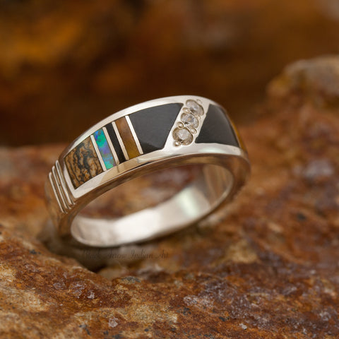 David Rosales Native Lite Inlaid Sterling Silver Ring