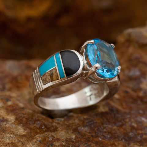 David Rosales Turquoise Creek Inlaid Sterling Silver Ring w Blue Topaz