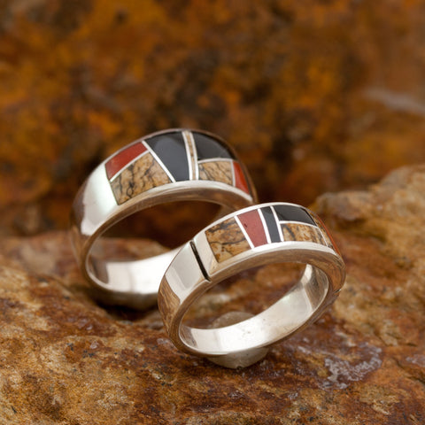 David Rosales Couples' Set Fire Creek Inlaid Sterling Silver Ring