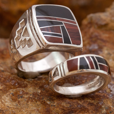 David Rosales Couples' Set Black Tiger Inlaid Sterling Silver Ring