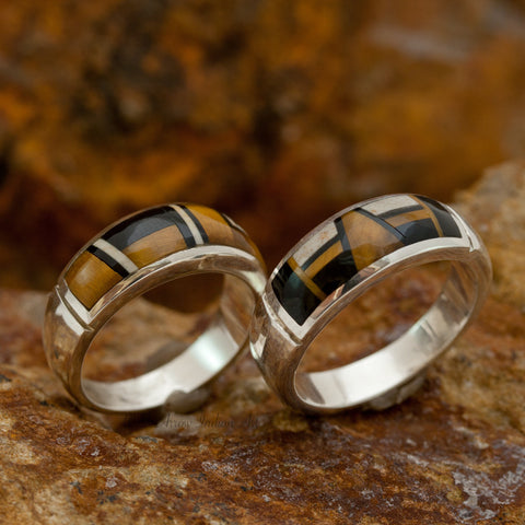 David Rosales Couples' Set Kayenta Inlaid Sterling Silver Ring