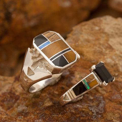 David Rosales Couples' Set Native Lite Inlaid Sterling Silver Ring