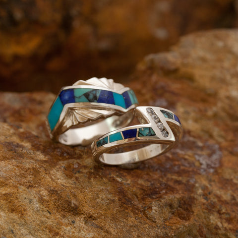David Rosales Couples' Set Blue Mountain Inlaid Sterling Silver Ring