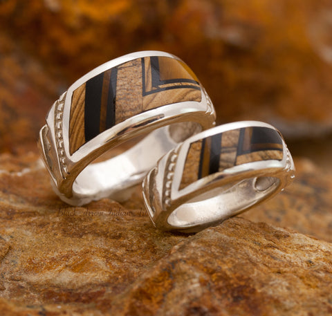 David Rosales Couples' Set Native Earth Inlaid Sterling Silver Ring