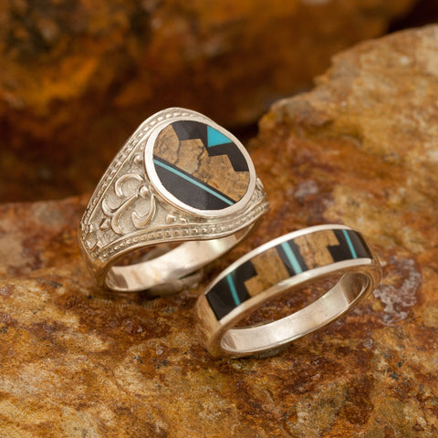 David Rosales Couples' Set Turquoise Creek Inlaid Sterling Silver Ring