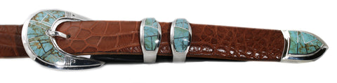 "Supersmith #8 Turquoise 1"" Inlaid Ranger Belt Buckle"