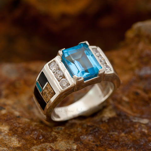 David Rosales Turquoise Creek Inlaid Sterling Silver Ring w/ Blue Topaz