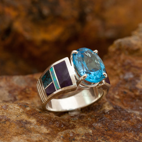 David Rosales Shalako Inlaid Sterling Silver Ring w/ Blue Topaz
