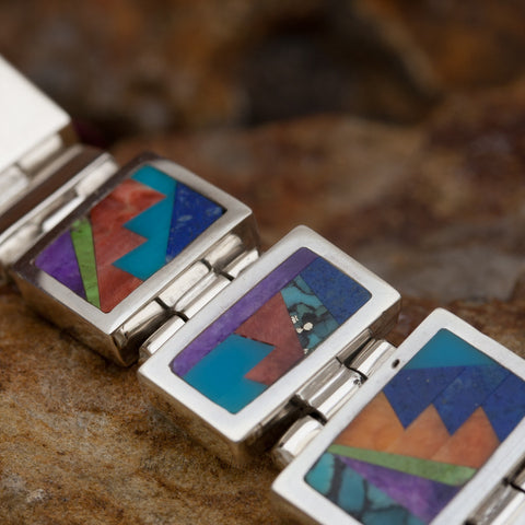 David Rosales Indian Summer Fancy Inlaid Sterling Silver Bracelet