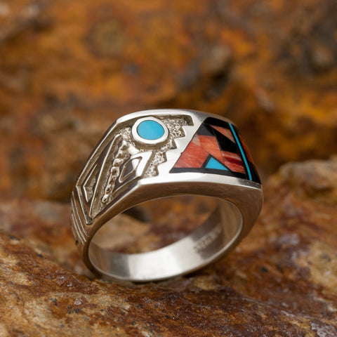 David Rosales Red Canyon Inlaid Sterling Silver Ring Men's Blue Moon Rising