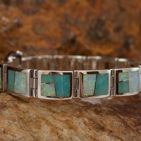 David Rosales Amazing Light Inlaid Sterling Silver Link Bracelet