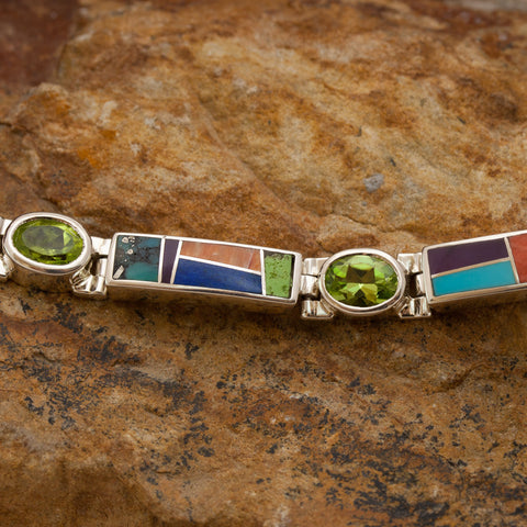 David Rosales Indian Summer Inlaid Sterling Silver Big Link Bracelet w/ Peridot