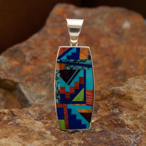 David Rosales Indian Summer Fancy Inlaid Sterling Silver Pendant