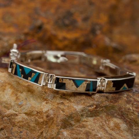 David Rosales Turquoise Creek Fancy Inlaid Sterling Silver Big Link Bracelet