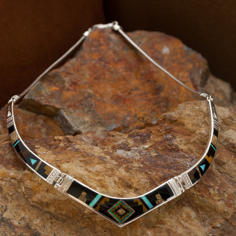 David Rosales Native Lite Inlaid Sterling Silver Necklace
