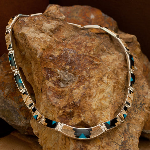 David Rosales Turquoise Creek Inlaid Sterling Silver Necklace