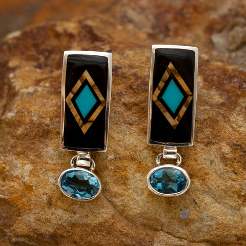 David Rosales Turquoise Creek Inlaid Sterling Silver Earrings w Blue Topaz