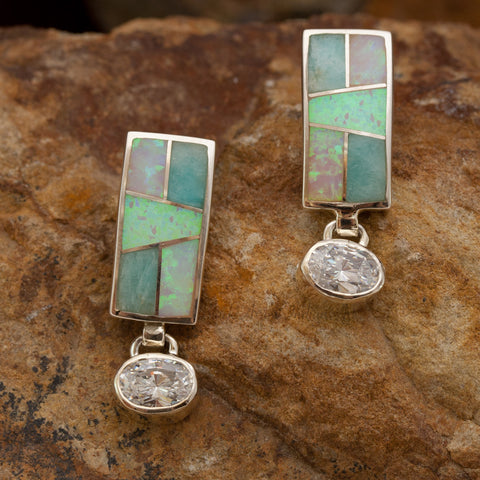 David Rosales Inlaid Sterling Silver Earrings