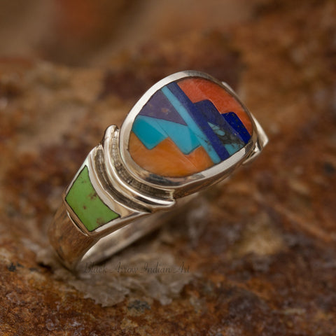 David Rosales Indian Summer Oval Inlaid Sterling Silver Ring