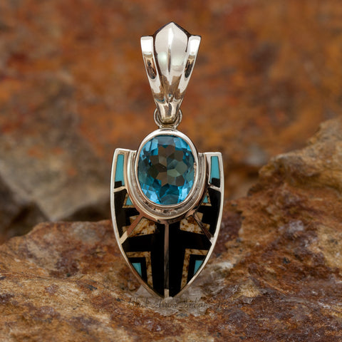 David Rosales Turquoise Creek Fancy Inlaid Sterling Silver Pendant w/ Blue Topaz