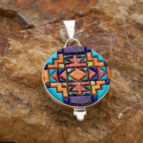 David Rosales Indian Summer Cobble Inlaid Sterling Silver Pendant Two-Sided
