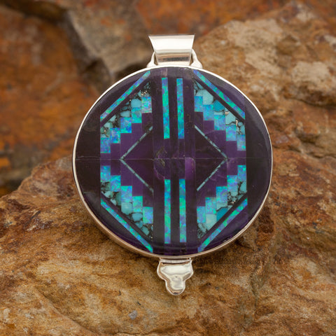 David Rosales Shalako Fancy Inlaid Sterling Silver Pendant Two-Sided