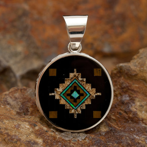 David Rosales Native Lite Inlaid Sterling Silver Pendant Two-Sided