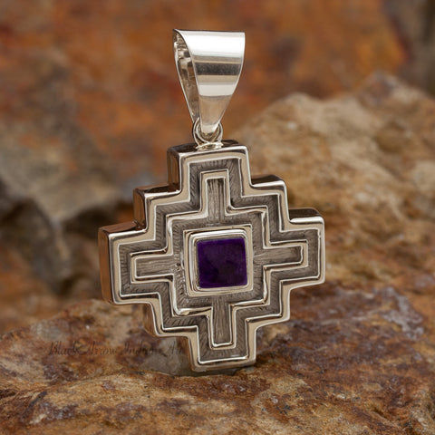 David Rosales Shalako Inlaid Sterling Silver Pendant Two-Sided Cross