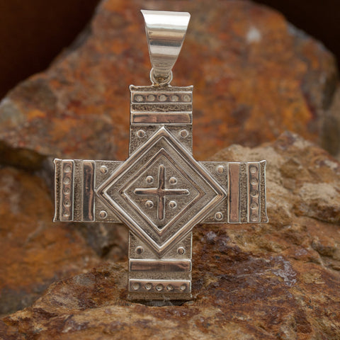 David Rosales Shalako Fancy Inlaid Sterling Silver Pendant Two-Sided Cross