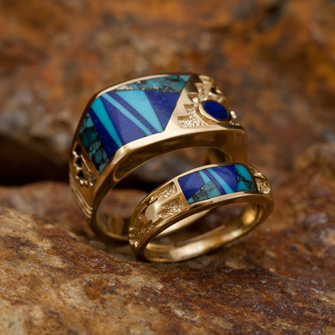 David Rosales Couples' Set Blue Mountain Inlaid 14K Gold Rings