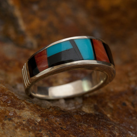 David Rosales Red Canyon Inlaid Sterling Silver Ring