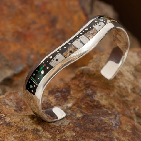 David Rosales Native Lite Inlaid Sterling Silver Bracelet