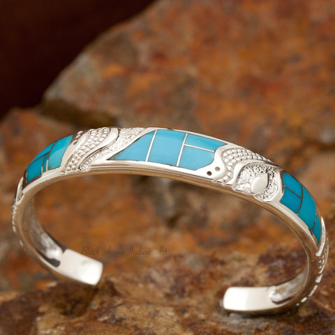 David Rosales Arizona Blue Inlaid Sterling Silver Bracelet