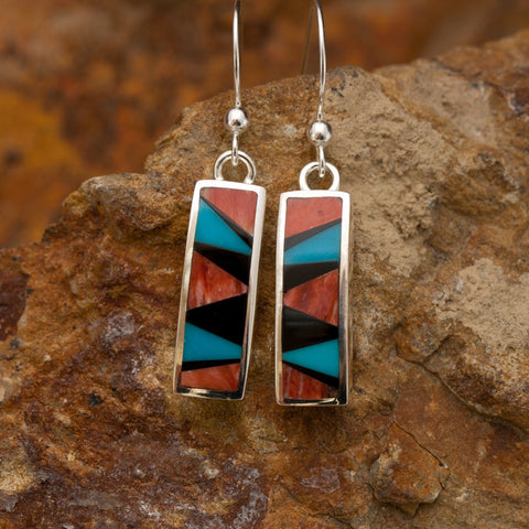 David Rosales Red Canyon Inlaid Sterling Silver Earrings